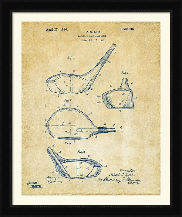 Nikki Marie Smith - 1926 Golf Club Patent Art... Print