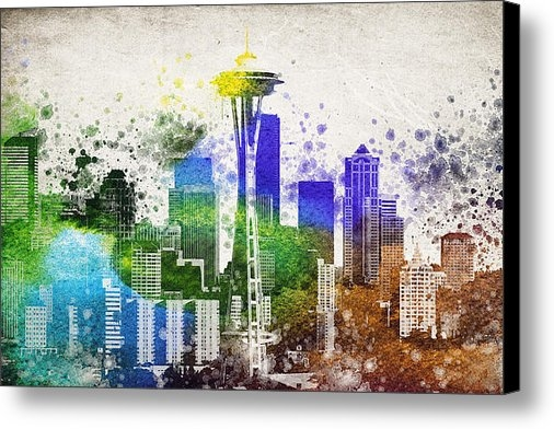 Aged Pixel - Seattle City Skyline Print