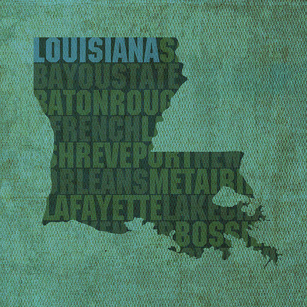 Design Turnpike - Louisiana Word Art State ... Print