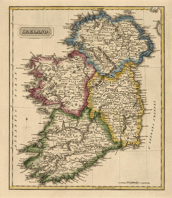 Blue Monocle - Antique Map of Ireland by... Print
