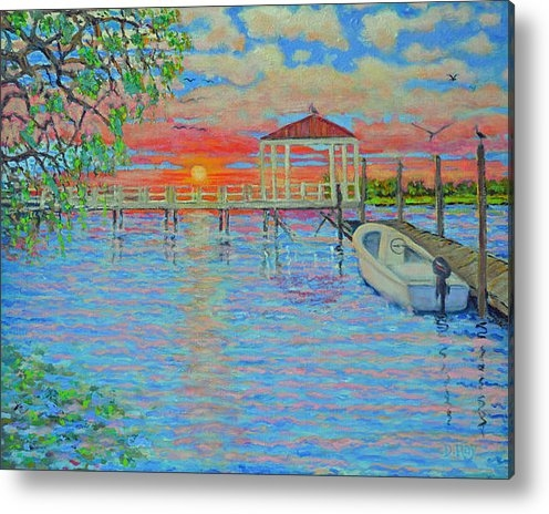 Dwain Ray - Creek Club Docks at Sunse... Print