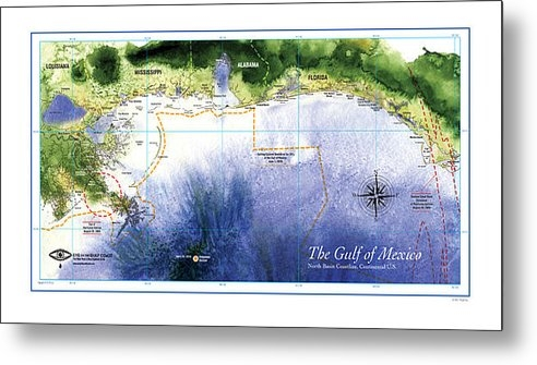 Paul Gaj - Map of the Gulf of Mexico... Print