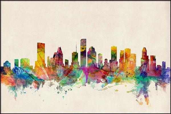 Michael Tompsett - Houston Texas Skyline Print