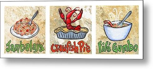 Elaine Hodges - Cajun Food Trio White Bor... Print