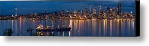 Mike Reid - Elliott Bay Seattle Skyli... Print