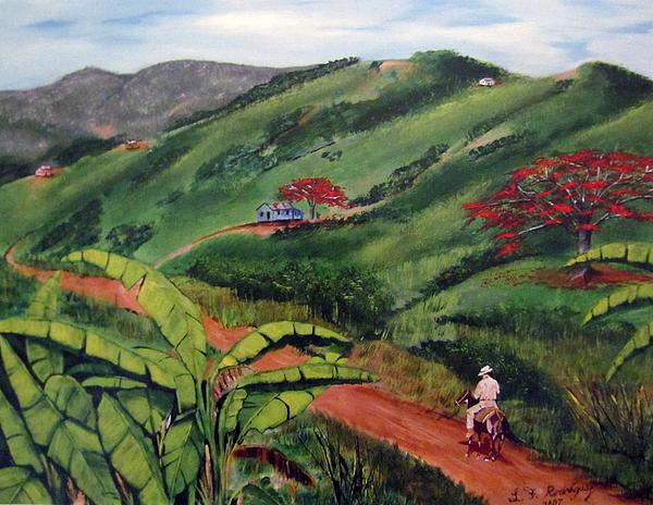 Luis F Rodriguez - En El Campo A Caballo Print