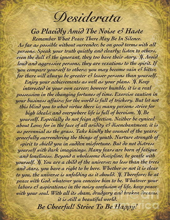 Claudette Armstrong - The Desiderata Poem on An... Print