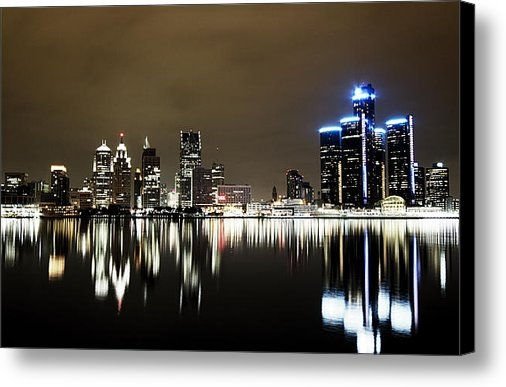 Alanna Pfeffer - Detroit Night Skyline Print