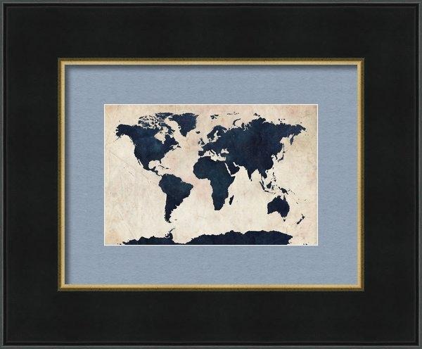 Michael Tompsett - World Map Distressed Navy Print