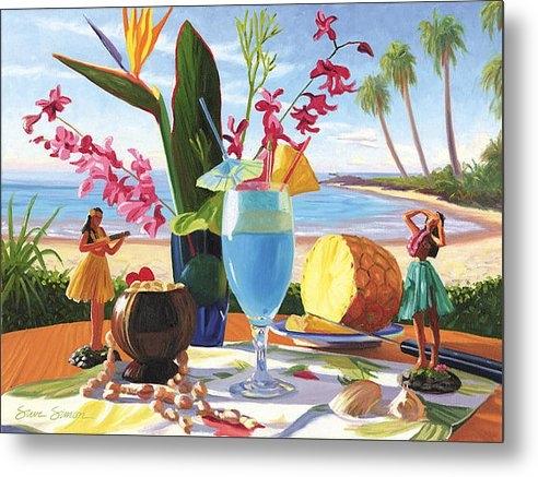 Steve Simon - Blue Hawaiian Print