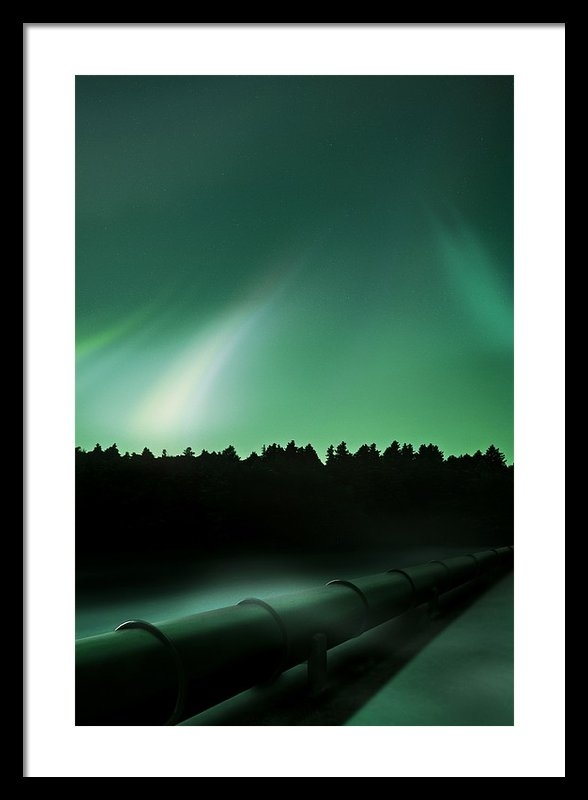 Richard Kail - Oil Pipeline And Aurora Print