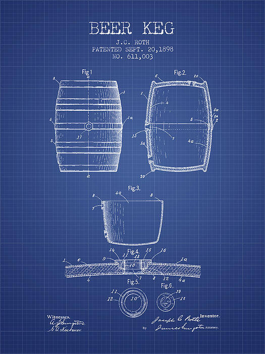 Aged Pixel - Beer Keg patent from 1898... Print