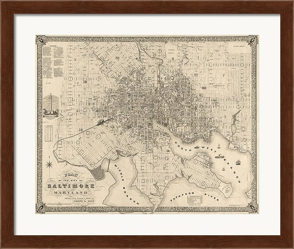 Blue Monocle - Antique Map of Baltimore ... Print
