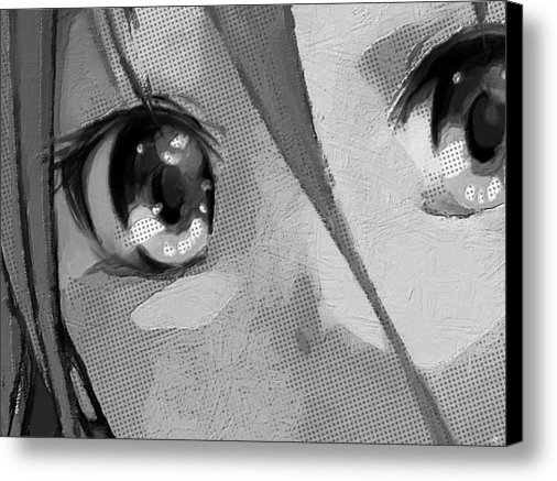 Tony Rubino - Anime Girl Eyes Black And... Print