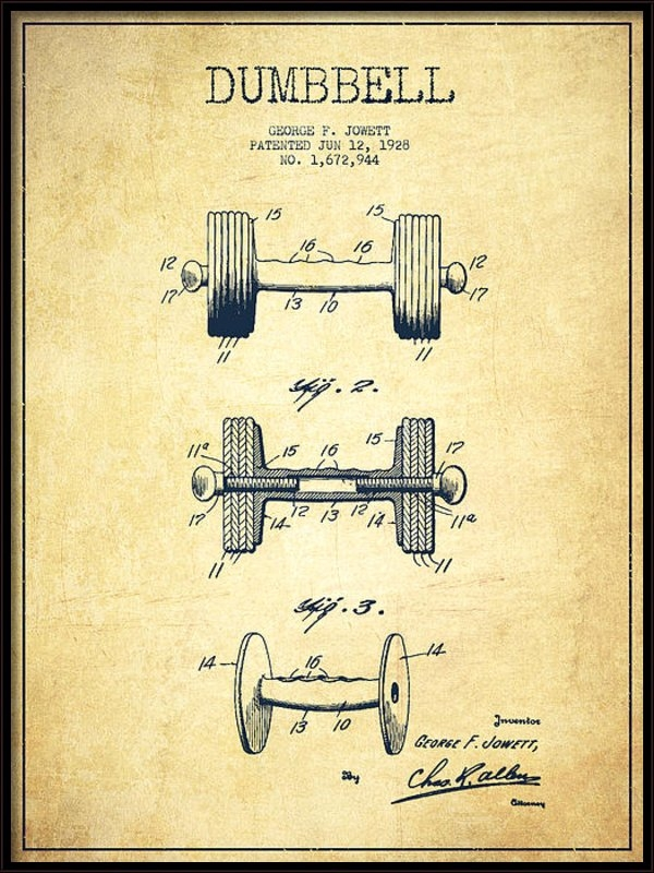 Aged Pixel - Dumbbell Patent Drawing f... Print