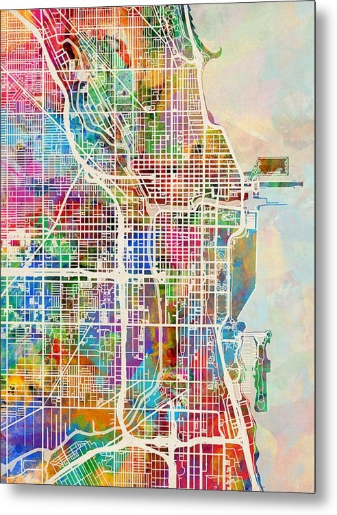 Michael Tompsett - Chicago City Street Map Print