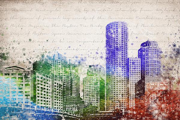 Aged Pixel - Boston City Skyline Print