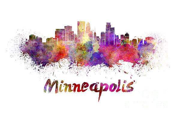 Pablo Romero - Minneapolis skyline in wa... Print
