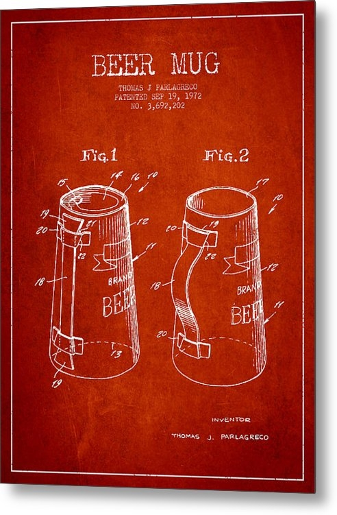 Aged Pixel - Beer Mug Patent from 1972... Print
