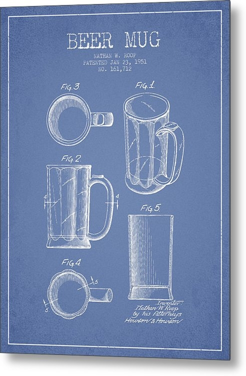 Aged Pixel - Beer Mug Patent Drawing f... Print