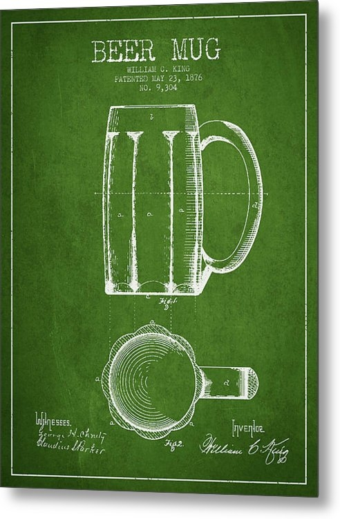 Aged Pixel - Beer Mug Patent from 1876... Print
