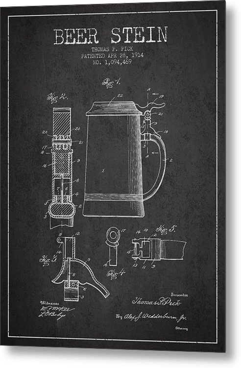 Aged Pixel - Beer Stein Patent from 19... Print