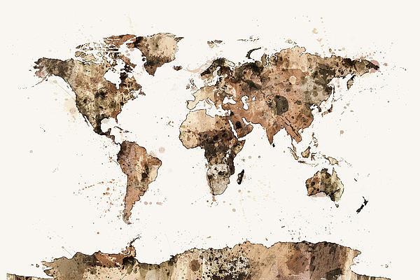 Michael Tompsett - Map of the World Map Sepi... Print