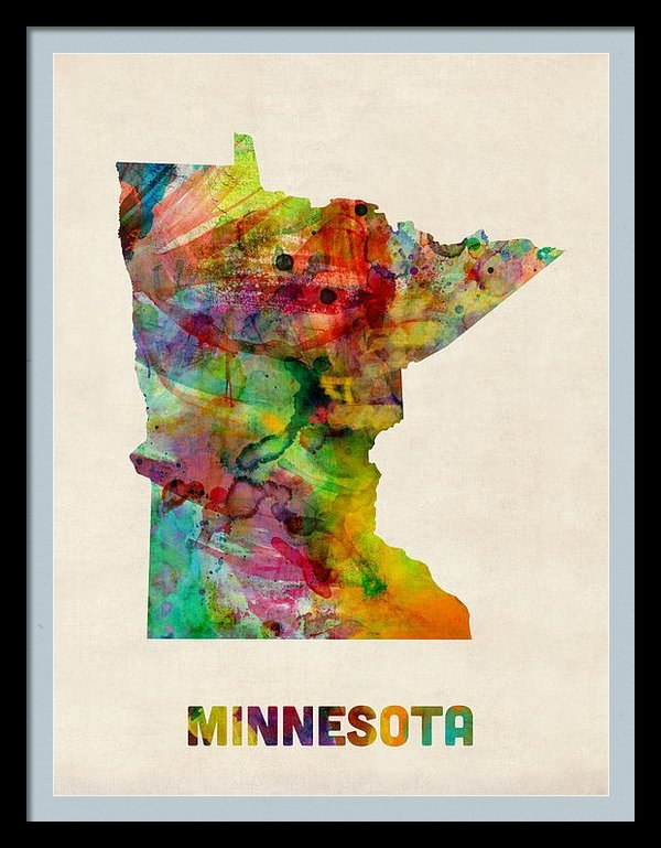 Michael Tompsett - Minnesota Watercolor Map Print