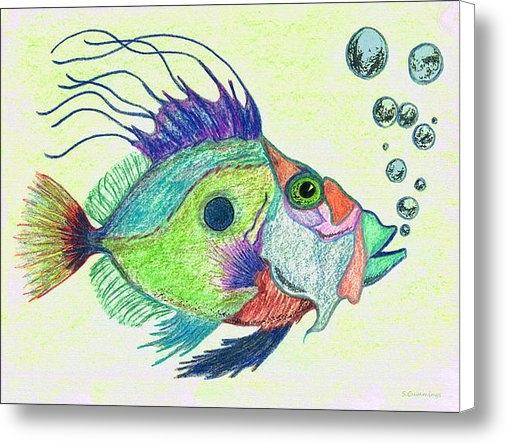 Sharon Cummings - Funky Fish Art - By Sharo... Print