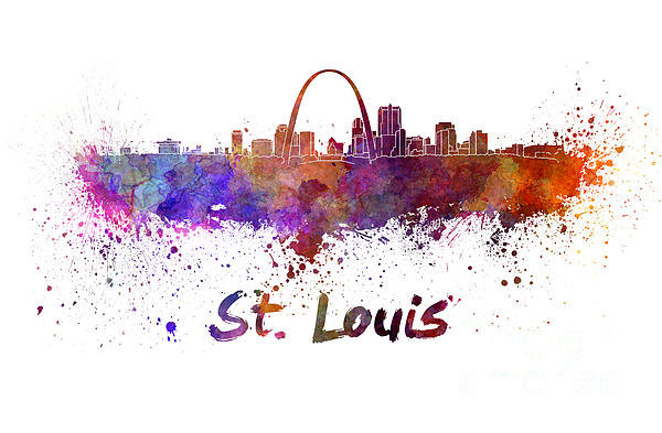 Pablo Romero - St Louis skyline in water... Print