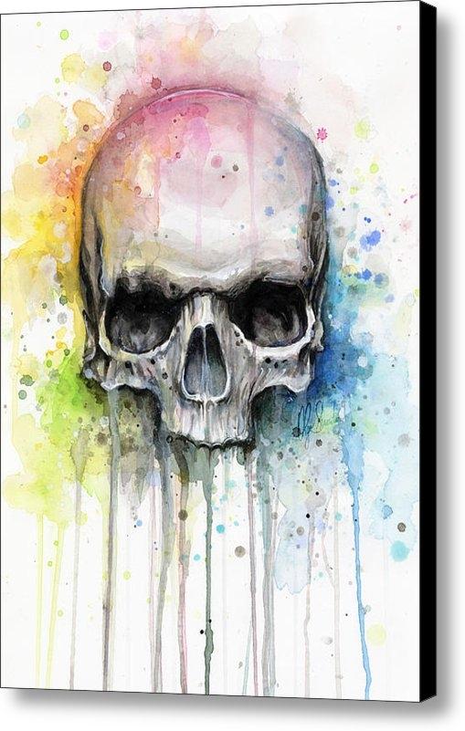 Olga Shvartsur - Skull Watercolor Painting Print