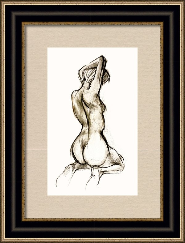 Roz McQuillan - Seated female Nude Print