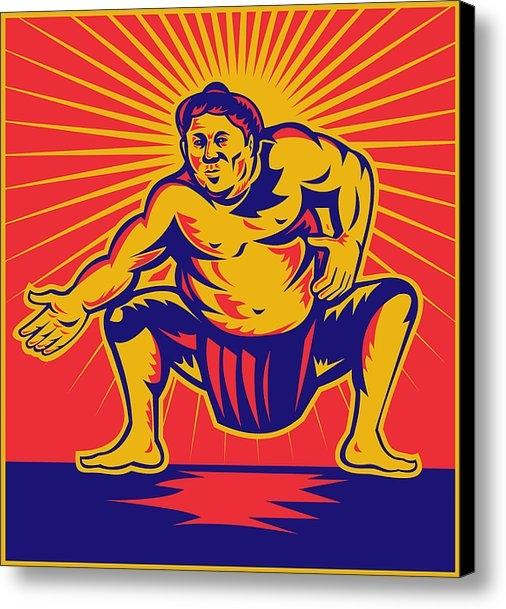 Aloysius Patrimonio - Sumo wrestler crouching r... Print