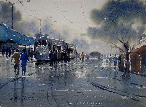 Jiaur Rahman - Rainwashed Kolkata Print