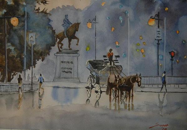 Sudip Mitra - Cityscape Kolkata street ... Print