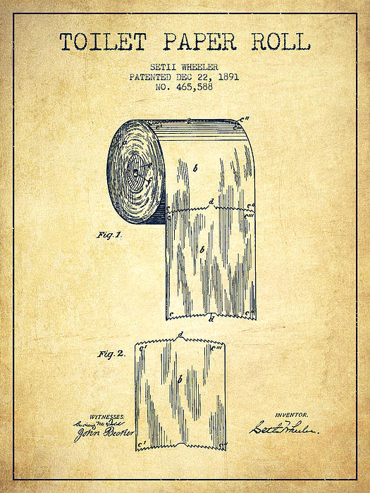 Aged Pixel - Toilet Paper Roll Patent ... Print