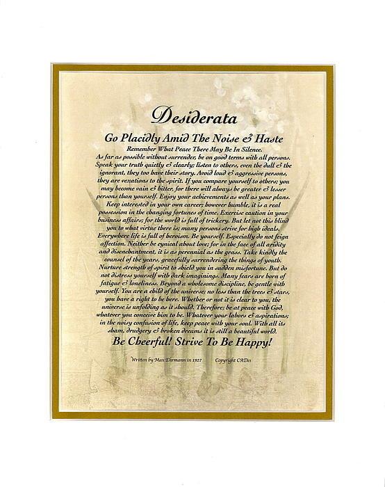 Desiderata Gallery - Peace Lilly Desiderata Po... Print