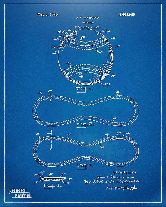 Nikki Smith - 1928 Baseball Patent Artw... Print