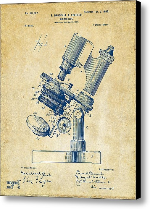 Nikki Marie Smith - 1899 Microscope Patent Vi... Print
