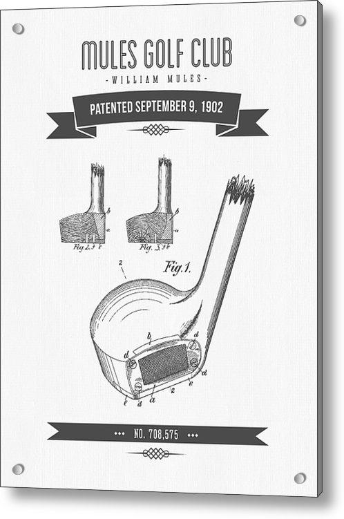 Aged Pixel - 1902 Mules Golf Club Pate... Print