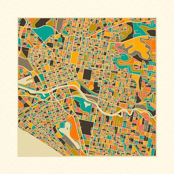 Jazzberry Blue - MELBOURNE map Print