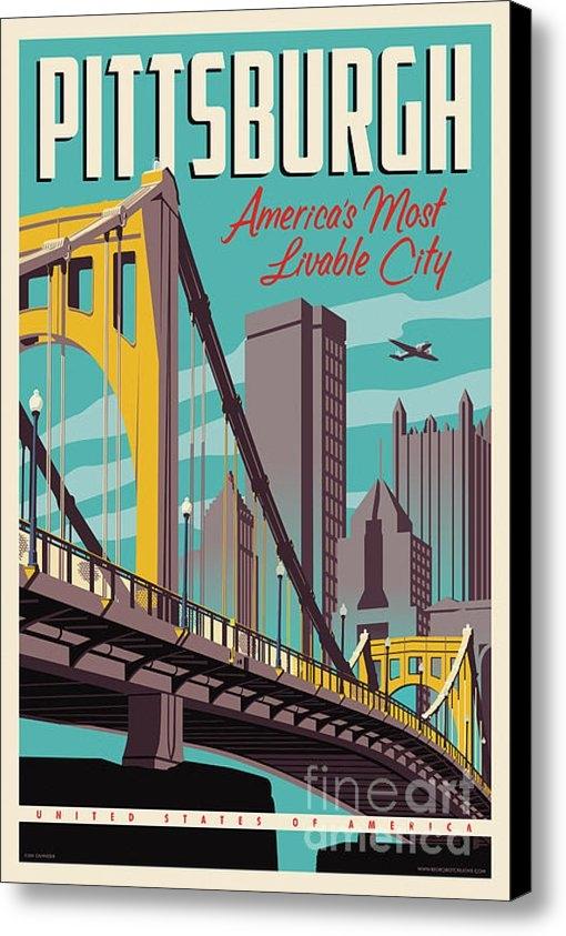 Jim Zahniser - Vintage Style Pittsburgh ... Print