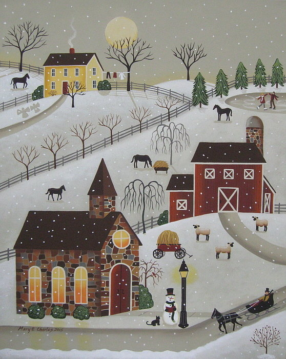 Mary Charles - Chapel in the Snow Print