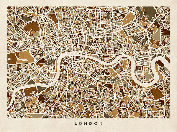 Michael Tompsett - London England Street Map Print