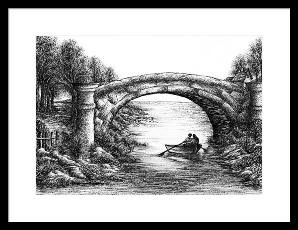 Evelyn Sichrovsky - Ink Drawing of Old Bridge... Print