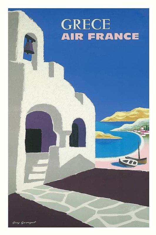 Retro Graphics - Greece Air France Vintage... Print
