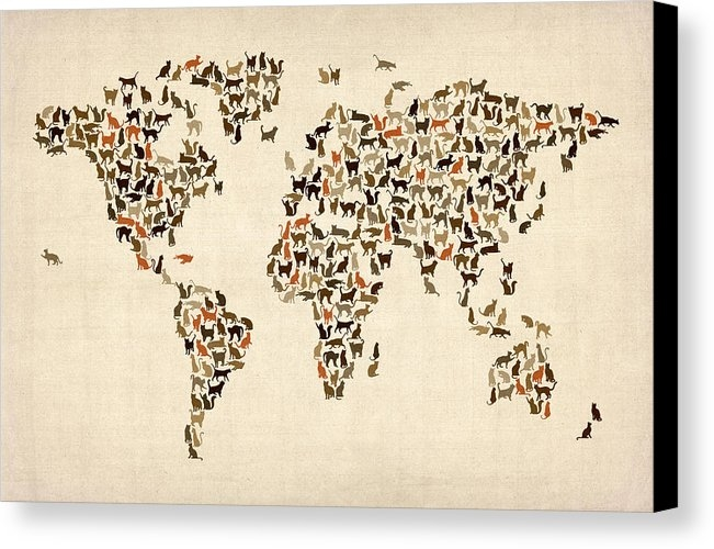 Michael Tompsett - Cats Map of the World Map Print