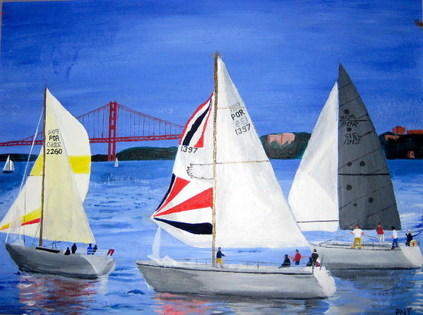 Artistic Indian Nurse - Sailboat Race In Lisbon Print