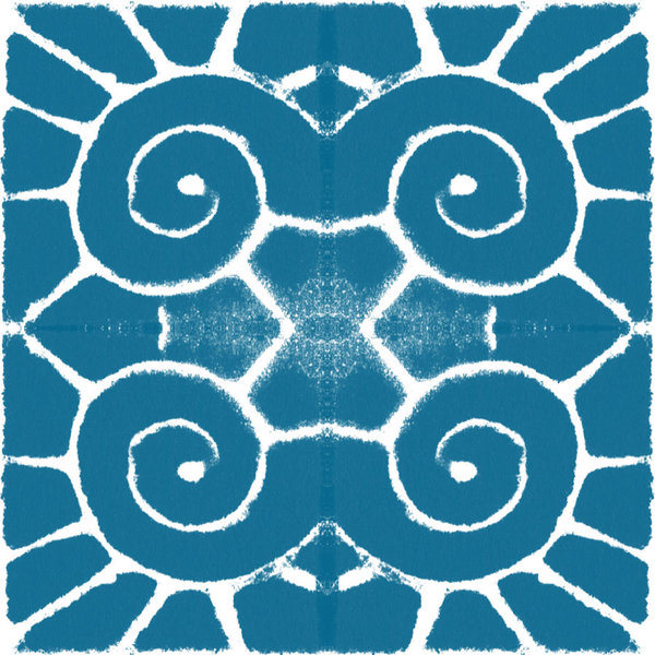 Linda Woods - Blue and White Wave Tile-... Print