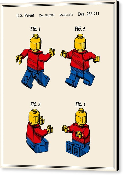 Finlay McNevin - Lego Man Patent - Colour ... Print
